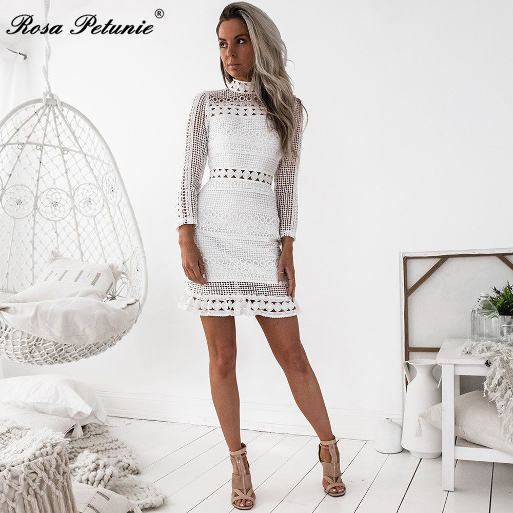 Rosa Petunie summer Dress 2017 Women Casual Beach Short Dress White Mini Lace Patchwork Dress Sexy Party Dresses Vestidos 1