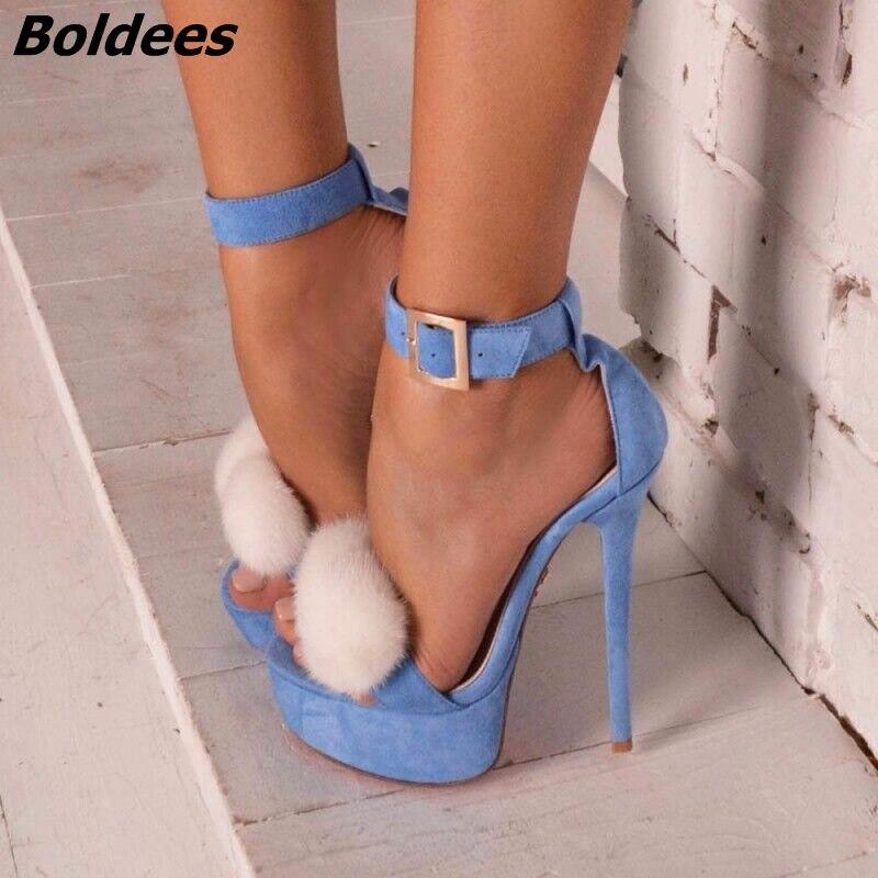 Trendy Line Buckle Style Stiletto Heel Dress Sandals Women Light Blue Suede Open Toe Platform Heels Sweet White Fur Dress Shoes