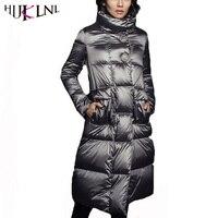HIJKLNL daunenmantel Frauen Winter Lange Ente Daunenjacke und Mantel Warm Rollkragen Feder Puffer Jacke Parka Mantel casaco QN709