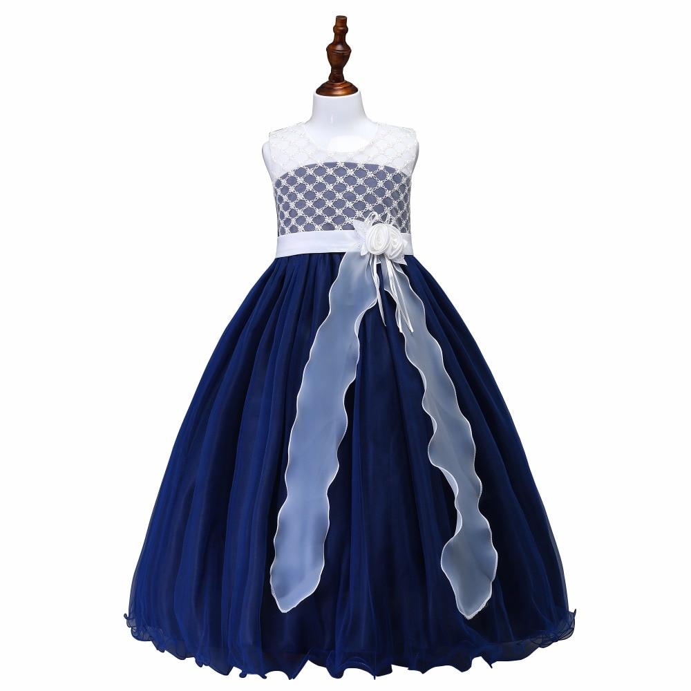 Embroidery Hollow Princess Evening Party Long Dress With Flower Elegant Tassel Flower Girls Dress 2019