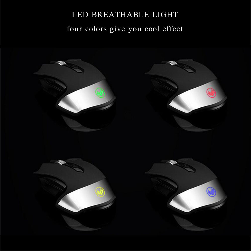 2.4Ghz Wireless Mouse Rechargeable Mouse 1600DPI Optical Gaming Mice Black White for ASUS HP DELL Lenovo Laptop