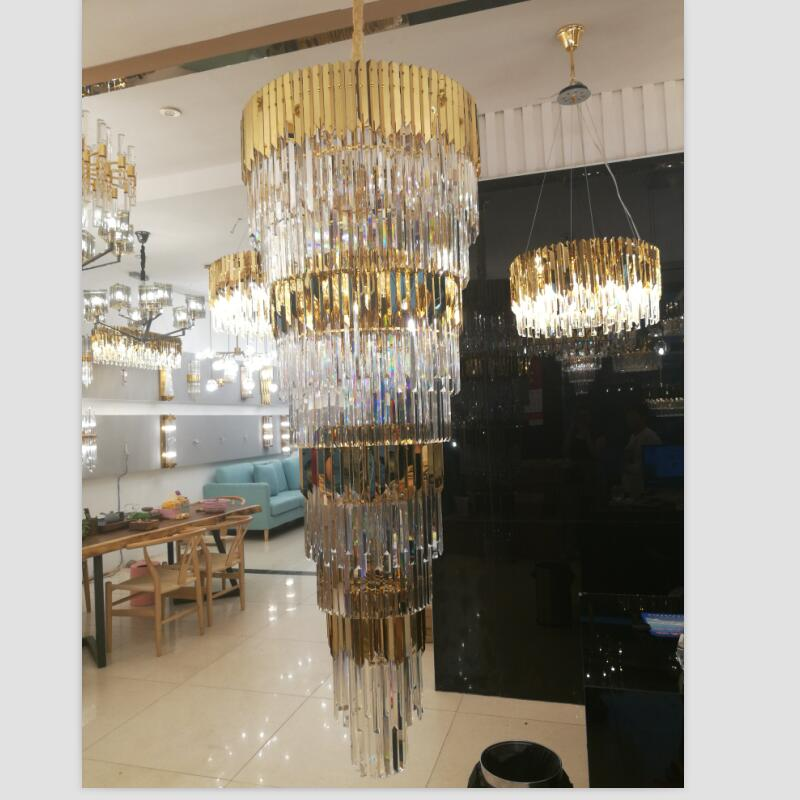 Luxurious golden crystal chandelier stainless steel k9 crystal lobby lights shining spiral staircase LED decorative chandeliers