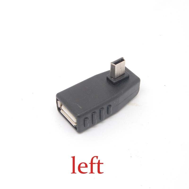 90 Degree left angle A Female to 5-pin B Male Mini USB OTG Host adapter USB2.0 NEW