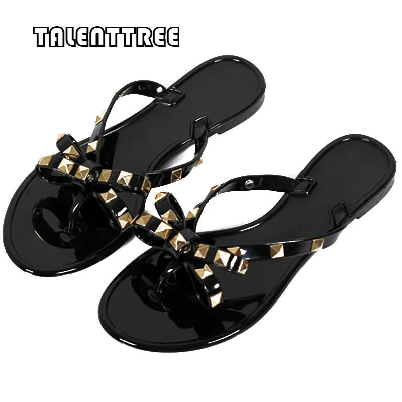 Summer Women Shoes Flat With Flip Flops Bow Tie Rivet Flip Flops Soft Pvc Beach Outdoor Jelly Flip Flops Women Slipper Shoes 2016 soild women flip flops for summer outside slipper with cheap price and high quality for surprise gift xf 090