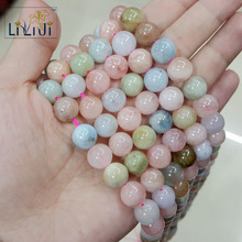 LiiJi Unique Natural Stone Morganite Round shape bead 10mm DIY Jewelry Making Necklace or Bracelet Approx 39cm