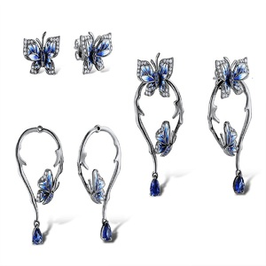 Image 4 - SANTUZZA Silver Earrings For Women Genuine 925 Sterling Silver Blue Butterfly Earrings Glamorous Fashion Jewelry Handmade enamel