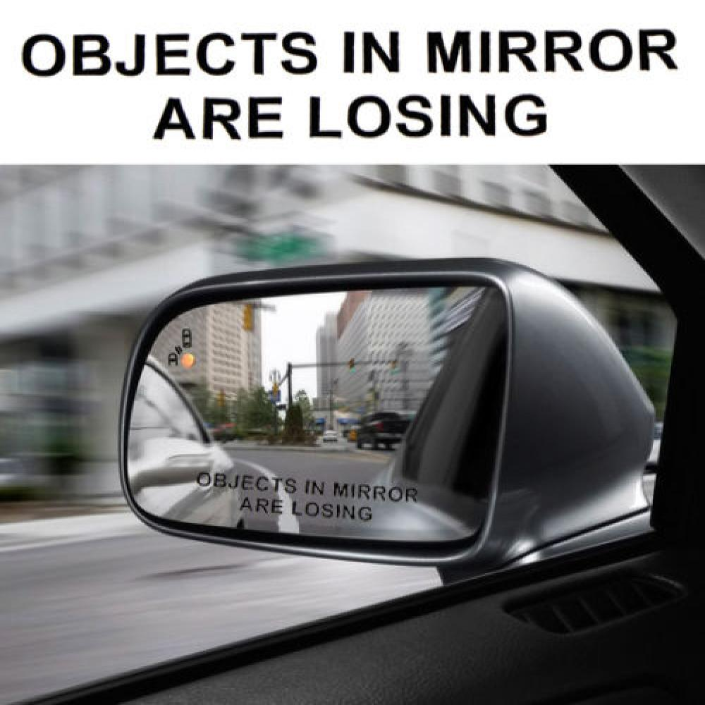 2 Pcs Car Rear View Mirror Warning Stickers Set  OBJECTS IN MIRROR ARE LOSING Pattern Car Sticker Reflective Waterproof Stickers