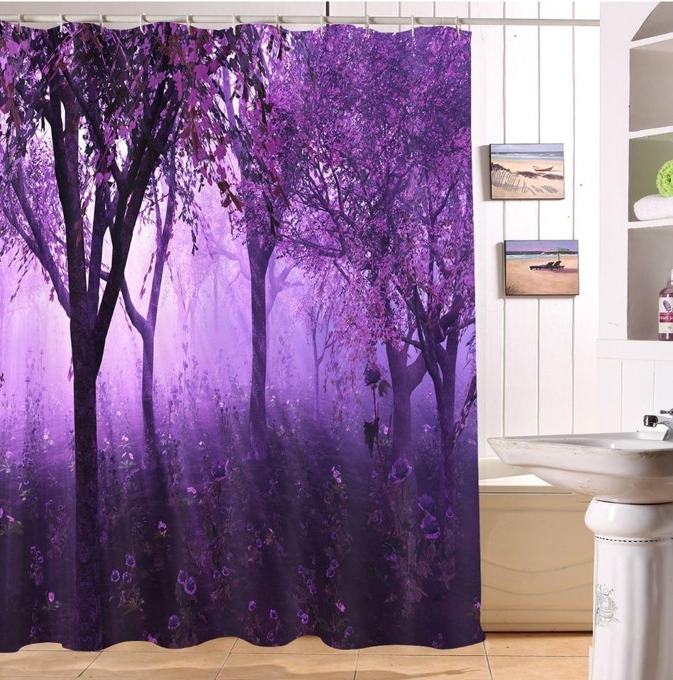 "72X72/""  Romantic Lavender Purple Shower Curtain Set Waterproof Fabric Polyester"