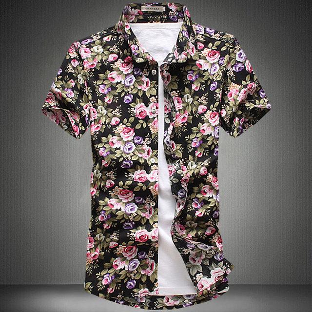 Online Shop 2017 Fashion Cotton Flower Pattern Shirts Men Floral ...