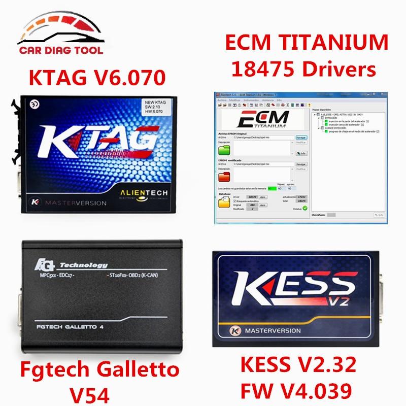 Цена за DHL бесплатно KTAG V2.13 KESS V2 V2.32 Мастер FGTech Galletto 4 FG Tech V54 полный набор K-TAG V6.070 k тег Чип ECU Тюнинг программист