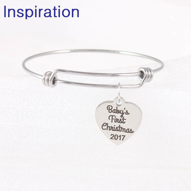American Expandable Bracelets Baby First Christmas  Letter Charm Bracelet Adjustable Wire Wrap Cuff Bangle Baby