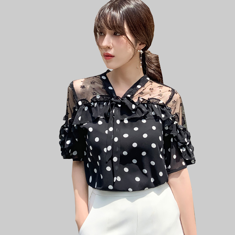 Shintimes Vintage Polka Dot Blouse Women White Chiffon Shirt  Hollow Out 2019 New Summer V-Neck Short Sleeve Black Womens Shirts