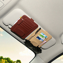 rete automobile Car Styling Inerior Car Sun Visor Sunglasses Ticket Receipt Card Clip Storage Holder artificial leather Wh
