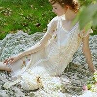 LYNETTE'S CHINOISERIE Handmade beading spilliness flower faux silk medium long one piece dress beige