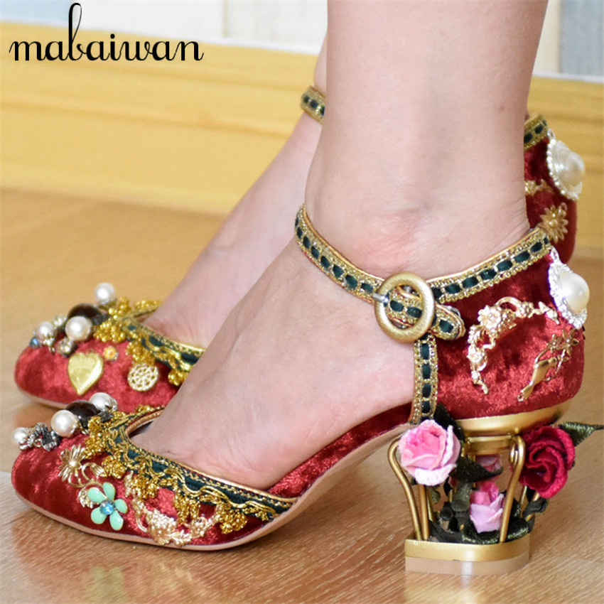 Luxury Vintage Women 7CM High Heels Birdcage Flowers Heel Ankle Buckle Women Pumps Wedding Shoes Woman Stiletto Cinderella Shoe