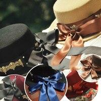 أميرة الحلو لوليتا رسمية أشرطة الكلاسيكية الدانتيل الشريط شقة الصوف القبعات قبعة القبعات الذهبي متعدد الألوان لوليتا الاكسسوارات MHT003