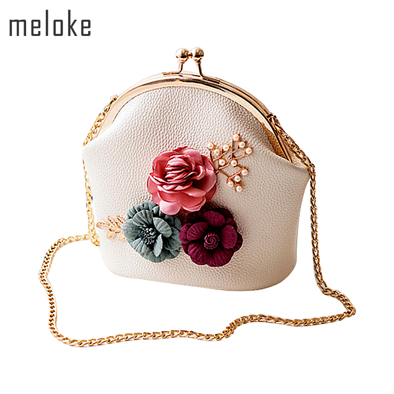 Meloke 2019 fashion women handmade flowers small shoulder bags summer chain cross body bags for girls  phone bags MN635