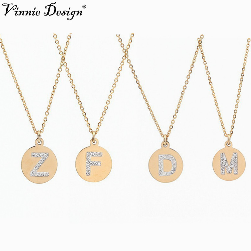 Vinnie Design Jewelry Fashion Gold Color Crystal Rhinestone A-Z Letter Pendant Necklace Initial Alphabet Necklaces 10pcs/lot necklace