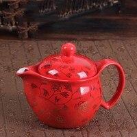 Tetera de cerámica grande sola olla de Kung Fu té Jingdezhen té pequeño paisaje de azul de porcelana blanca tetera encima de folículo 350 ML