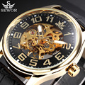 2017 SEWOR Luxury Brand Black Skeleton Mechanical Watch Men Leather Mens Watches Dress Male Wristwatches Relogio Masculino