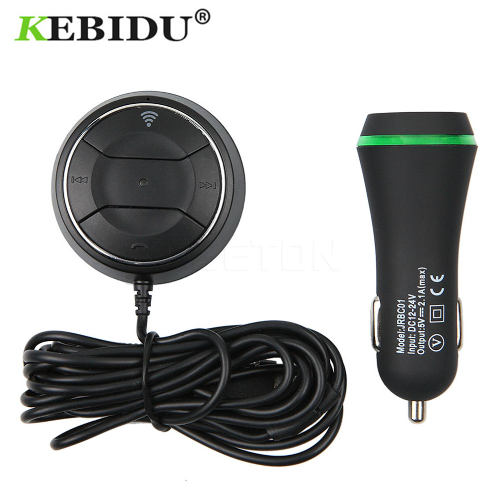 KEBIDU Bluetooth Receiver HandsFree Stereo Car NFC AUX Kit Music Aux Speakerphone Car Kit With 3