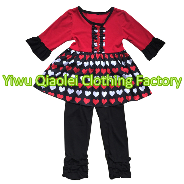 2018 Wholesale Baby Girl Valentine S Day Outfits Heart Design Top