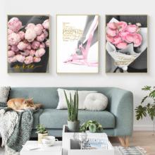 Pink Rose Flower Girl Love Quotes Wall Art Canvas Painting Nordic Posters And Prints Pictures For Living Room Home Decor