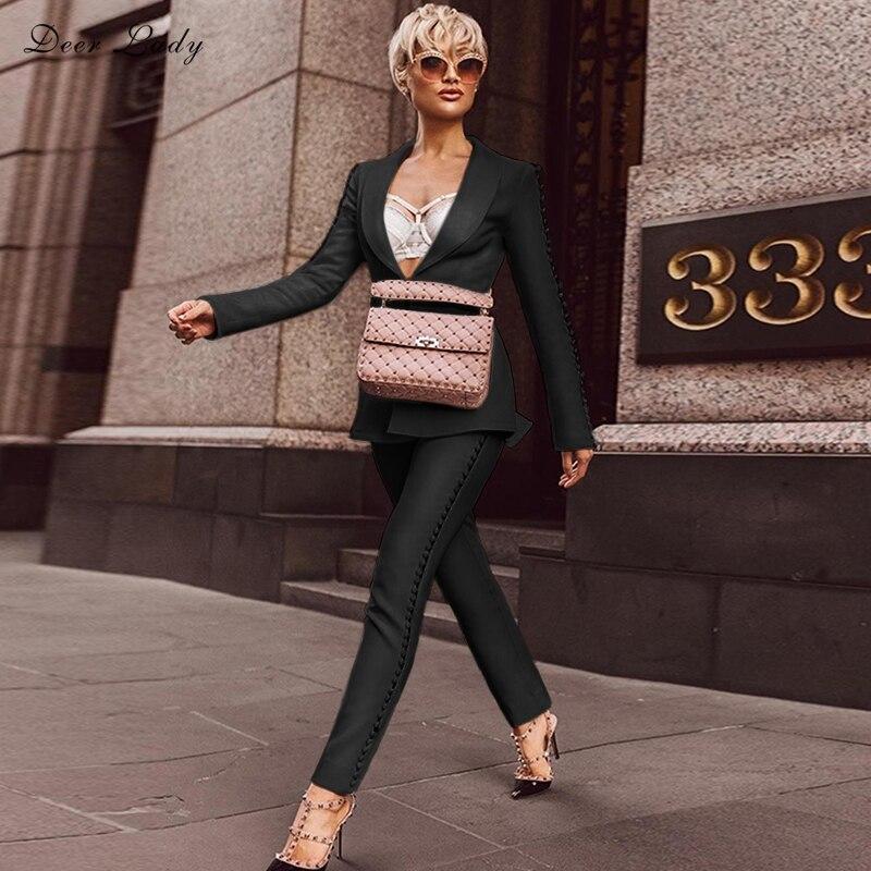 Office De Ensemble Cerfs Longues Costume 2018 Manches black Noir Moulante Femmes Pièces Mode En White Pantalon 2 Dame Nouvelle À Gros Lady Hl AtqdzaAxw