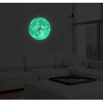 30cm Glowing Moon Wall Clock Waterproof PVC Acrylic Luminous Hanging Clock Moon Clock Livingroom Bedroom Decor - DISCOUNT ITEM  41% OFF All Category
