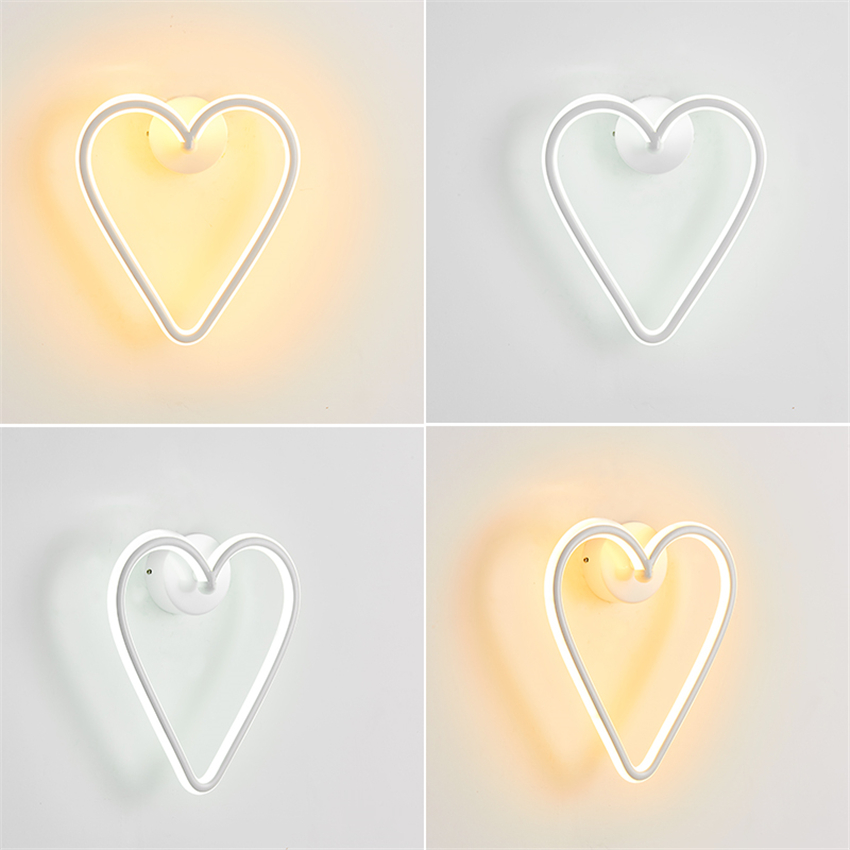 Modern wall lamp LED love wrought iron wall hanging living room bedroom lighting decorative lights girl birthday gift glow hexagon night glow decorative wall sticker