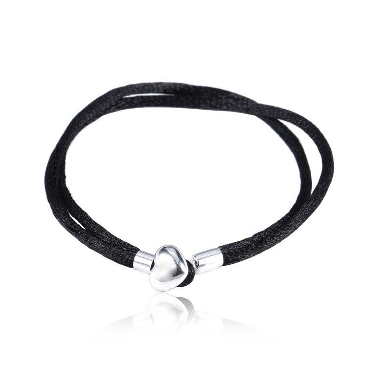 100% стерлингового серебра 925 Основные цепи в форме сердца Плетеный Браслеты Fit Для женщин Талисманы Бусины и Подвески DH010