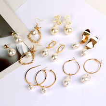 CUTEECO 2019 Fine Jewelry Gold Color Irregular Earrings Fashion Simulated Pearl for Women Gifts