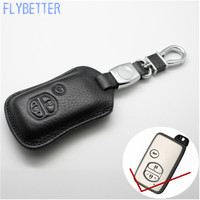 FLYBETTER Lederen Afstandsbediening Sleutelhanger Cover Case Voor Toyota Prado/Crown/Camry/Reiz 3 Knoppen Smart Sleutelhouder L1739