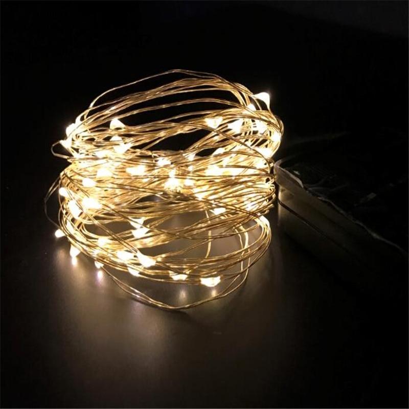 LED низови светлини 10M 100 светодиода слънчева енергия медна тел фея светлини за декориране, градина, вътрешен двор, сватба, ваканционни декорации