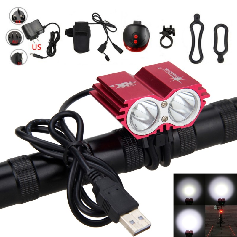 USB Charging 8000 Lumens  XM-L T6 LED Bike Light Cycling Front Bicycle Headlamp+Battery Charger Sets +Red Laser Taillight 18000 lumens bike headlamp flashlight 9x cree xm l2 led bicycle light cycling helmet headlight 18650 battery pack charger