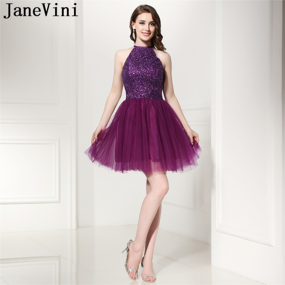 JaneVini 2018 Elegant A Line Short   Bridesmaid     Dresses   with Sequins Beaded O-Neck Backless Tulle Girls Homecoming   Dress   Plus Size