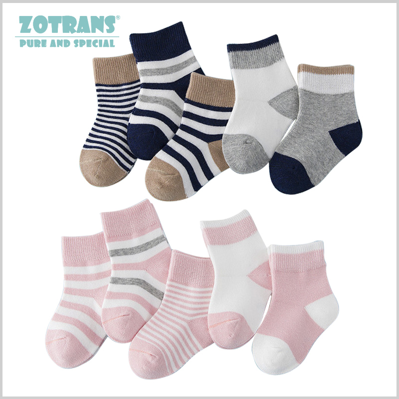 5 Pair/lot Baby Boy Socks Newborns Cotton Summer Autumn Striped Girls Socks Infant Toddle Socks Kids Short Socks For 0-2Years