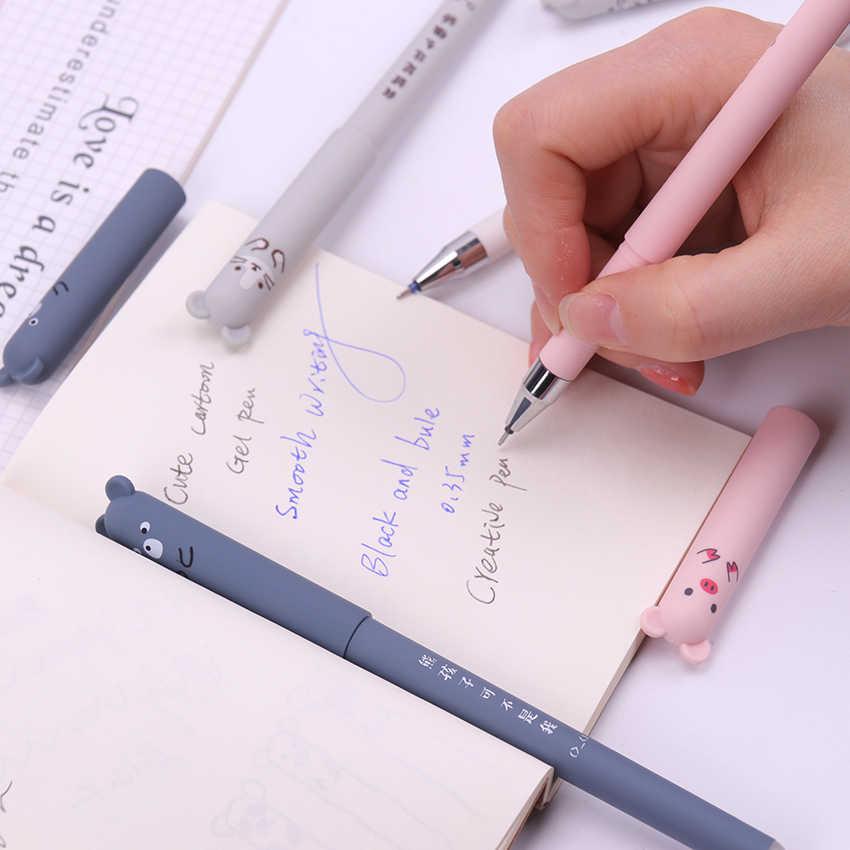 1 шт., Офисная гелевая ручка с мультяшными животными, Волшебная стираемая ручка, 0,35 мм, синие, черные чернила, школьные канцелярские принадлежности, инструмент для письма, подарок