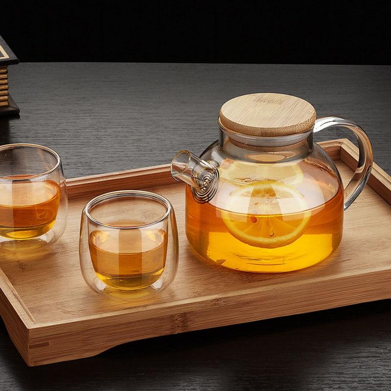New Tea Pot Set Heat Resistant Glass Tea Infuser Pot With Wooden Cover Flower Tea Puer Kettle Coffee Cup High Quality Teapot Set