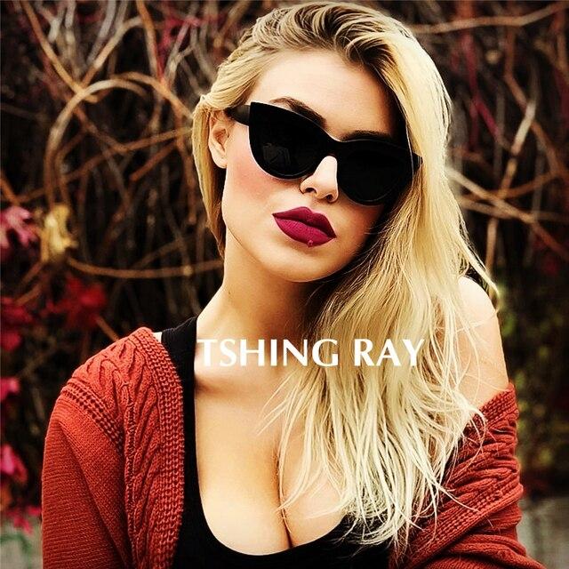 8c683861b3e23 TSHING RAY Retro Thick Frame Cat Eye Sunglasses Women Ladies Fashion Brand  Designer Mirror Lens Cateye Sun Glasses For Female