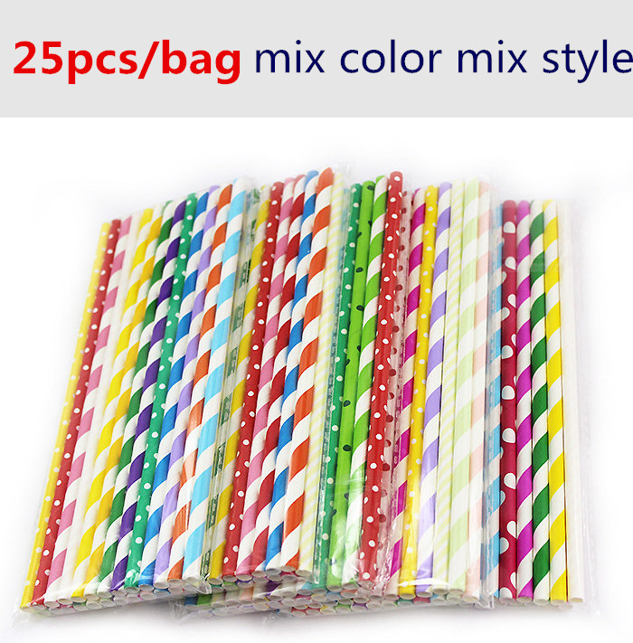 Cheap 25pcs Mix Style Mix Color Paper Straw Baby Kids Birthday Party Wedding Decoration Paper
