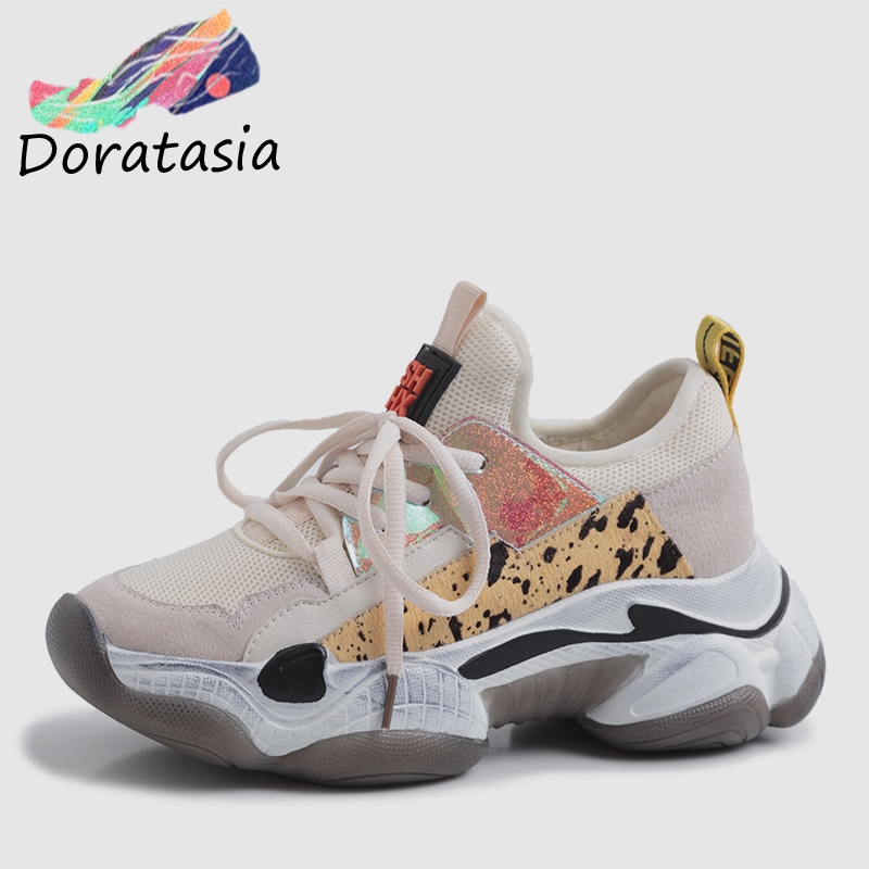 DORATASIA 2019 nouvel été INS Hot femmes baskets en cuir de vache daim grande taille 35-42 femmes crin plate-forme chaussures femme