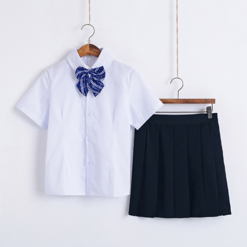 3Pcs <font><b>Japanese</b></font> Student <font><b>School</b></font> <font><b>Uniform</b></font> Girl Suit White Korea Girls Shirt+Dark Blue Skirt+Tie Set Cosplay <font><b>Sexy</b></font> Costumes image