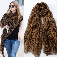 Fashion Lady Leopard Print Scarf Women Summer Long Scarves S