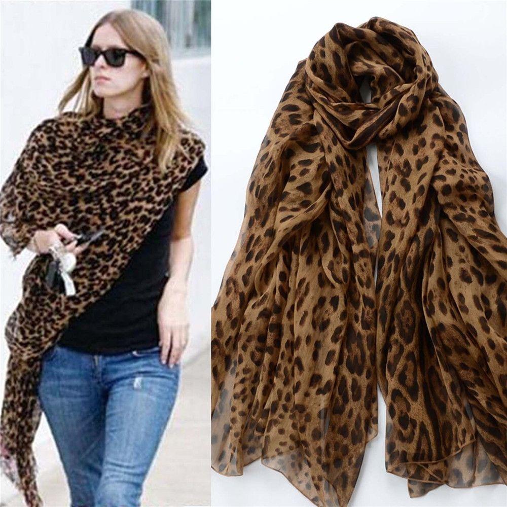 Mode dame imprimé léopard écharpe femmes été longues écharpes châles en mousseline de soie doux Femme Wrap plage crème solaire moins cher écharpe