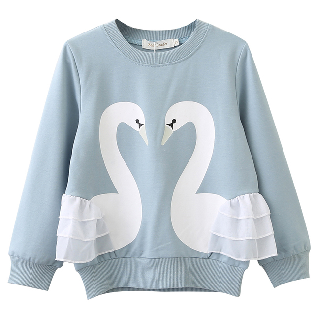 Girls' Cute Long Sleeved Printed Cotton T-Shirt