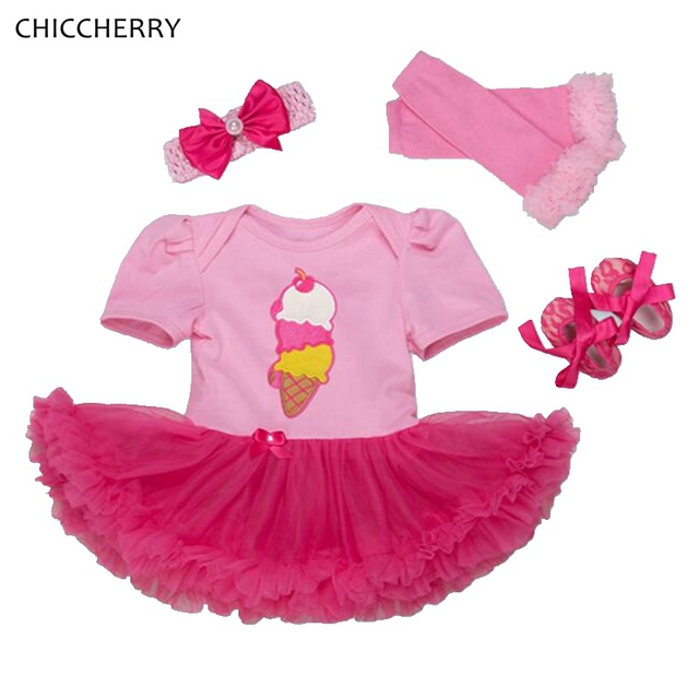 Ice Cream Applique Pink Baby Girl Dress Headband Leg Warmers Shoes Newborn Tutu Sets Cute Toddler Girl Clothes Infant Clothing