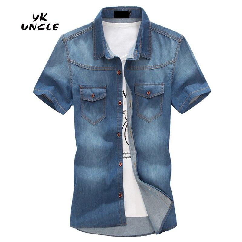 Mens Shirts Short Sleeve Slim Fit Casual Mens Cowboy Shirts Fashion 2016 Summer Camisa Jeans Masculina Plus Size 5XL,YK UNCLE
