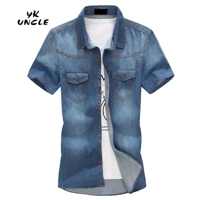 Camisas de los hombres de Manga Corta Slim Fit Camisa Vaqueros Masculina Casual Para Hombre Camisas Vaqueras Moda 2016 Verano Más El Tamaño 5XL, TÍO YK