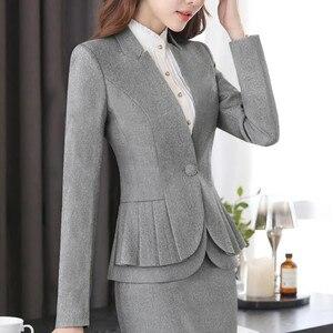 Image 3 - NAVIU Elegante e alla Moda Delle Donne Giacche Autunno Temperamento Manica Lunga Nero Grigio Giacca Ufficio Delle Signore Più Il Formato di Usura del Lavoro cappotto